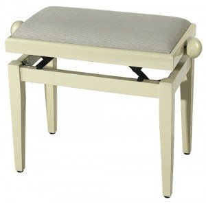 FX Piano Bench Ivory High Gloss Beige Seat