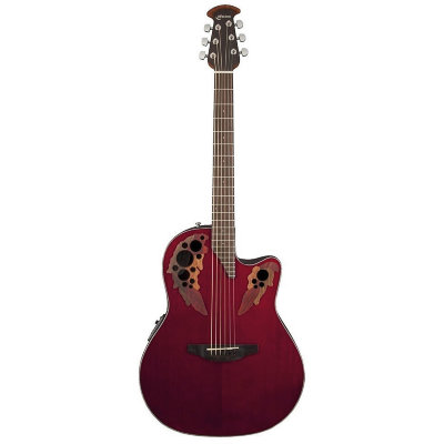 OVATION CE44-RR Elite® Plus Celebrity® Mid-Depth - Ruby Red